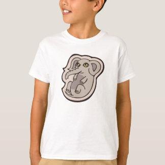 Cute Playful Gray Baby Elephant Drawing Design T-Shirt