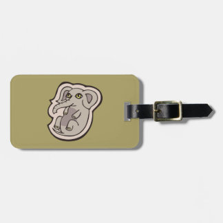 Cute Playful Gray Baby Elephant Drawing Design Tag For Luggage