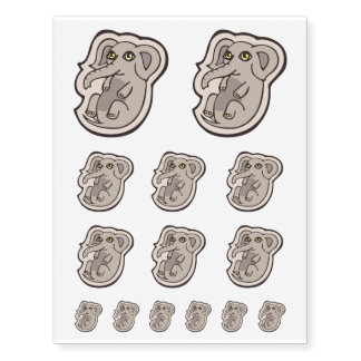 Cute Playful Gray Baby Elephant Drawing Design Temporary Tattoos