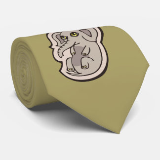 Cute Playful Gray Baby Elephant Drawing Design Tie