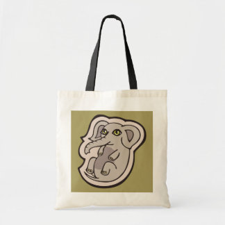 Cute Playful Gray Baby Elephant Drawing Design Tote Bag