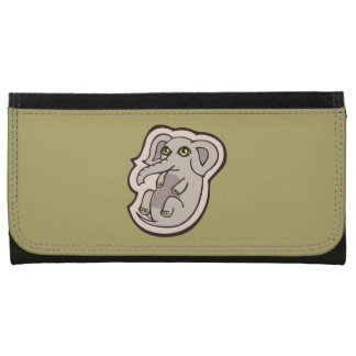 Cute Playful Gray Baby Elephant Drawing Design Wallets