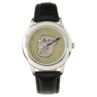 Cute Playful Gray Baby Elephant Drawing Design Watches