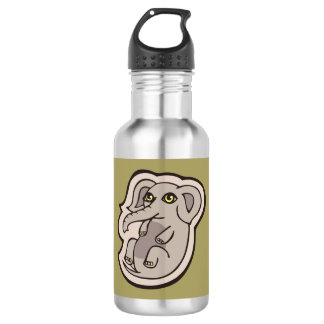 Cute Playful Gray Baby Elephant Drawing Design Water Bottle