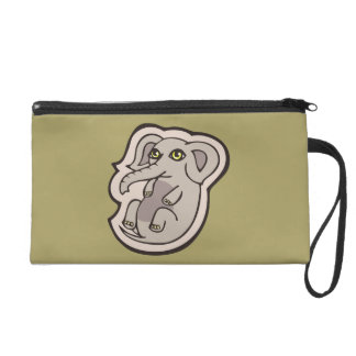 Cute Playful Gray Baby Elephant Drawing Design Wristlet
