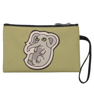 Cute Playful Gray Baby Elephant Drawing Design Wristlet Wallet