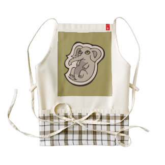 Cute Playful Gray Baby Elephant Drawing Design Zazzle HEART Apron