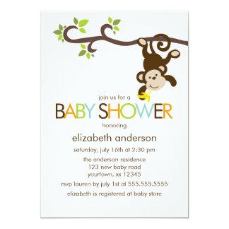 Cute Playful Monkey Baby Shower Card