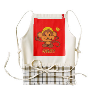 Cute Playful Monkey with Banana & Chinese Word Zazzle HEART Apron