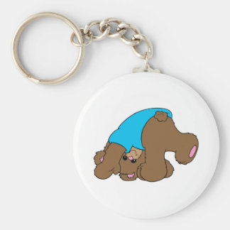 cute playful tumbling teddy bear design keychain