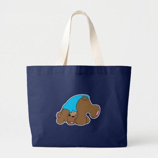 cute playful tumbling teddy bear design large tote bag