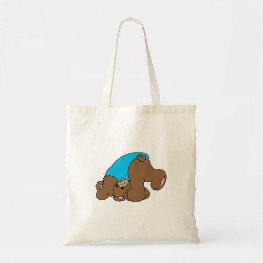 cute playful tumbling teddy bear design tote bag