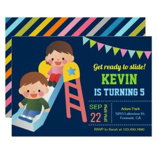 Cute Playground Slide Kids Birthday Party Invite