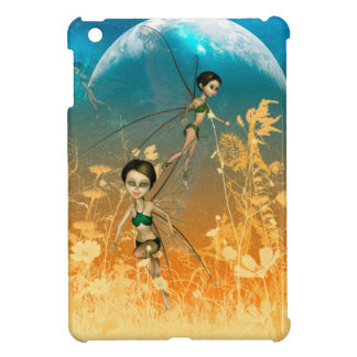 Cute playing and flying fairies in the night case for the iPad mini