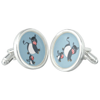 Cute Playing Belted Galloway Cow & Calf Cufflinks