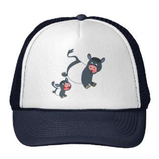 Cute Playing Belted Galloway Cow & Calf Hat