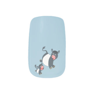Cute Playing Belted Galloway Cow & Calf Nail Art