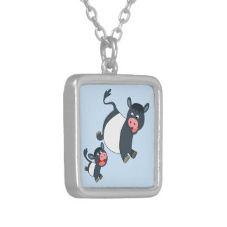 Cute Playing Belted Galloway Cow & Calf Necklace