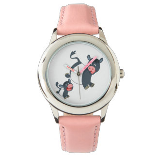 Cute Playing Belted Galloway Cow & Calf Watch
