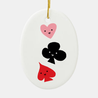 Cute Playing Card Suits Ceramic Ornament