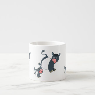 Cute Playing Cartoon Belted Galloway Cow and Calf Espresso Cup