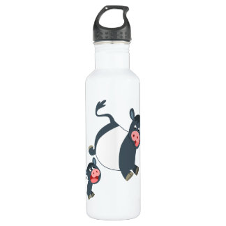 Cute Playing Cartoon Belted Galloway Cow and Calf Stainless Steel Water Bottle