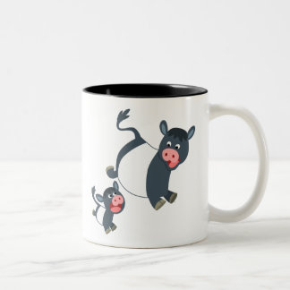 Cute Playing Cartoon Belted Galloway Cow and Calf Two-Tone Coffee Mug