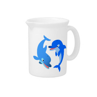 Cute Playing Cartoon Dolphins Apron Pitcher