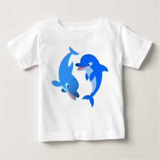 Cute Playing Cartoon Dolphins Baby T-Shirt
