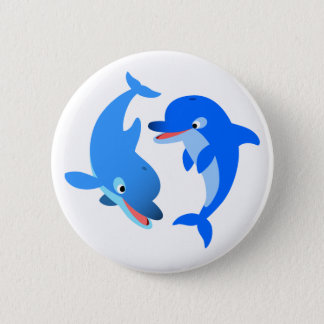 Cute Playing Cartoon Dolphins Button Badge