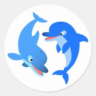 Cute Playing Cartoon Dolphins Sticker