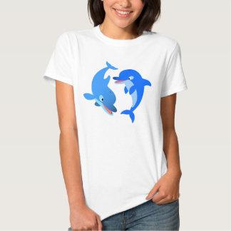 Cute Playing Cartoon Dolphins Women T-Shirt