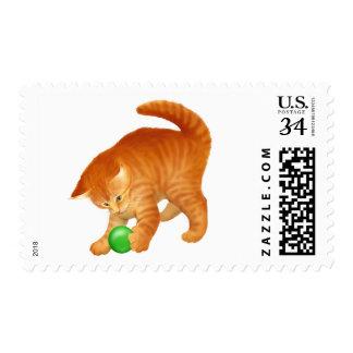 Cute Playing Orange Kitten Postage Stamps