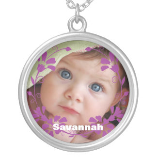 Cute Plum Circle Flower Swirl Baby Photo Necklace