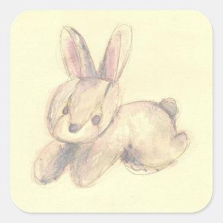 Cute Plush Bunny Square Sticker