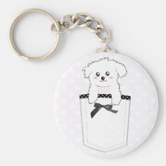 Cute Pocket Puppy Dog Basic Round Button Keychain