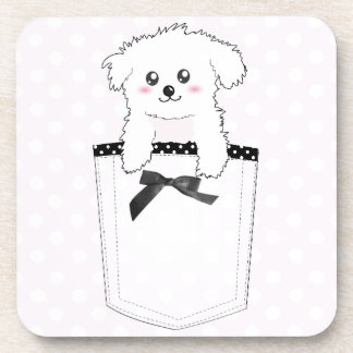 Cute Pocket Puppy Dog Beverage Coaster