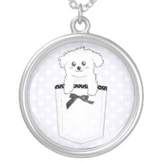 Cute Pocket Puppy Dog Round Pendant Necklace