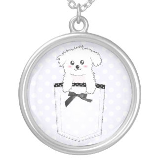 Cute Pocket Puppy Dog Silver Plated Necklace