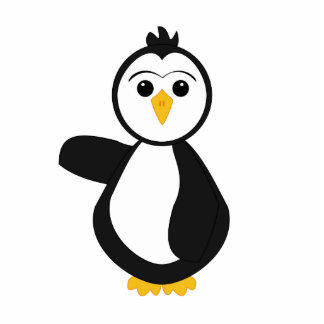 Cute Pointing Penguin Statuette