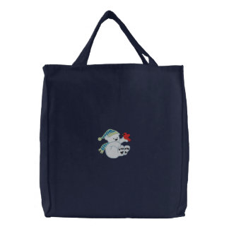 Cute polar bear and cardinal embroidered tote bag