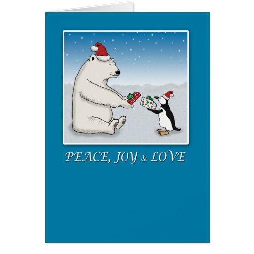 Cute Polar Bear and Penguin Christmas Greeting Card