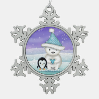Cute Polar Bear and Penguin Snowflake Pewter Christmas Ornament