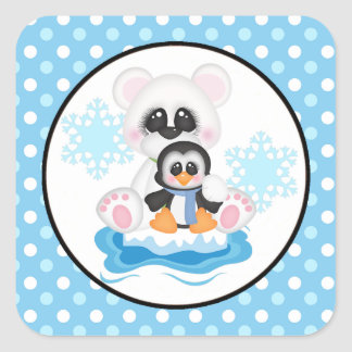 Cute Polar Bear and Penguin Square Sticker