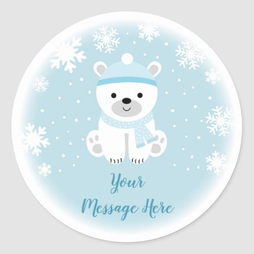 Cute Polar Bear Baby Shower Classic Round Sticker