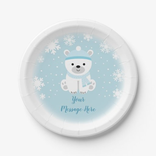 Cute Polar Bear Baby Shower Paper Plate