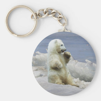 Cute Polar Bear Cub & Arctic Ice Keychain