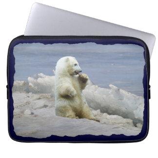 Cute Polar Bear Cub & Arctic Ice Laptop Sleeve