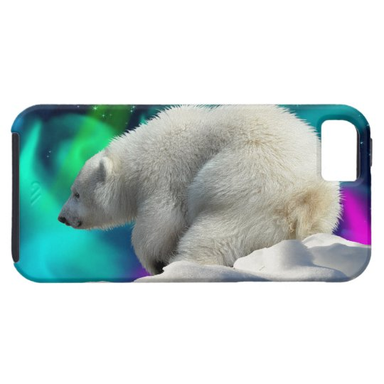 Cute Polar Bear Cub & Aurora iPhone 5 Case