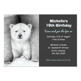 Cute Polar Bear & Cub Birthday Party Invitation